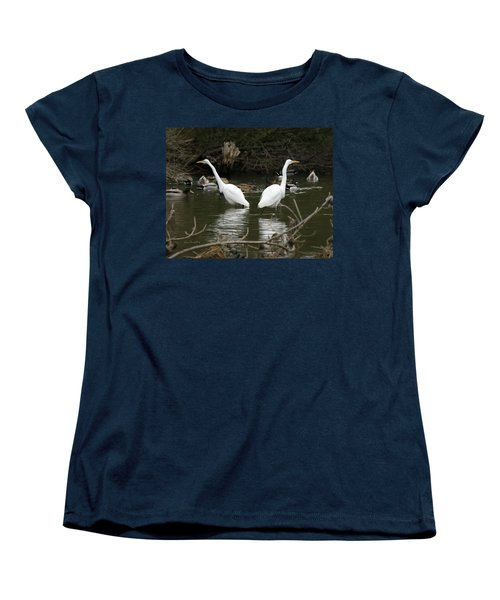Women's T-Shirt (Standard Cut) featuring the photograph Pair Of Egrets by George Randy Bass