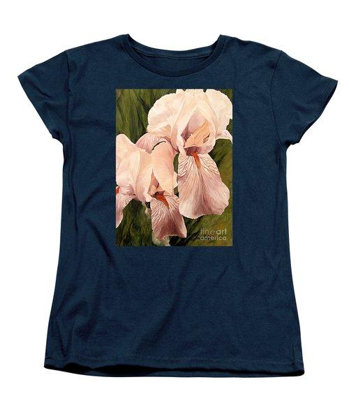 Pair Of Peach Iris  Women's T-Shirt (Standard Cut) by Laurie Rohner