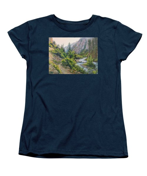 Women's T-Shirt (Standard Cut) featuring the painting Palisades Creek  by Steve Spencer