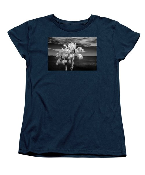 Women's T-Shirt (Standard Cut) featuring the photograph Palm Trees At Laguna Beach In Infrared Black And White by Randall Nyhof