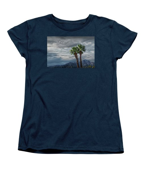 Women's T-Shirt (Standard Cut) featuring the photograph Palm Trees By Borrego Springs In The Anza-borrego Desert State Park by Randall Nyhof