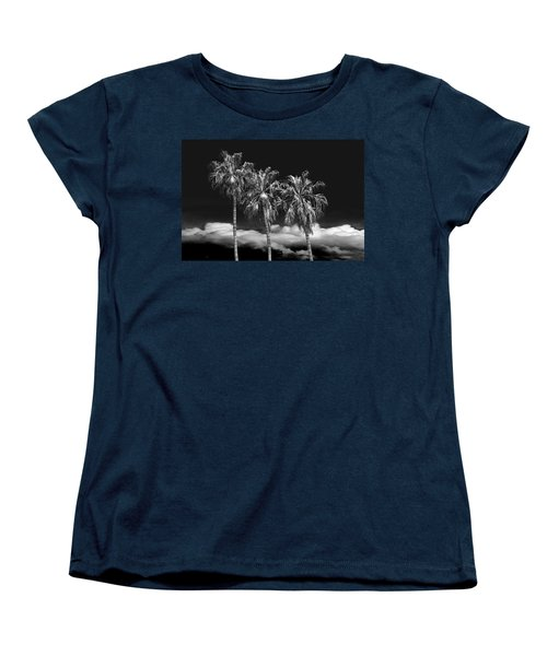 Women's T-Shirt (Standard Cut) featuring the photograph Palm Trees In Black And White On Cabrillo Beach by Randall Nyhof
