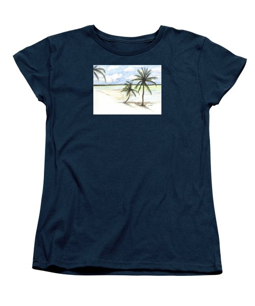 Women's T-Shirt (Standard Cut) featuring the painting Palm Trees On The Beach by Darren Cannell