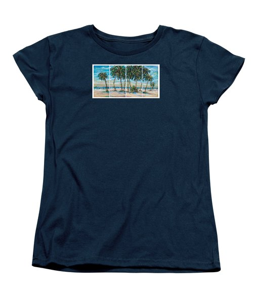 Women's T-Shirt (Standard Cut) featuring the painting Palms Along The Shore by Linda Olsen