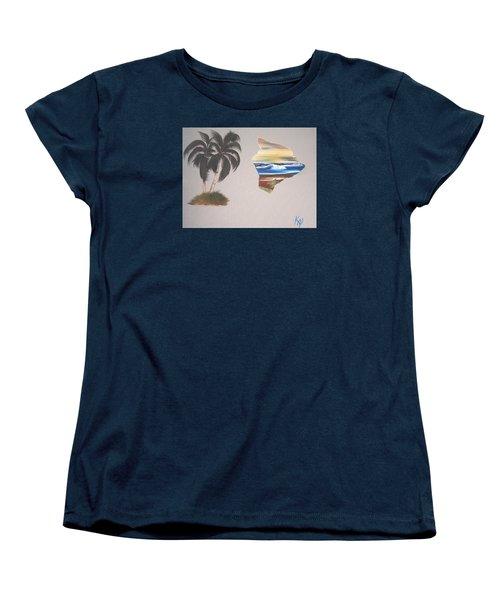 Palms And Big Island Women's T-Shirt (Standard Cut) by Karen Nicholson