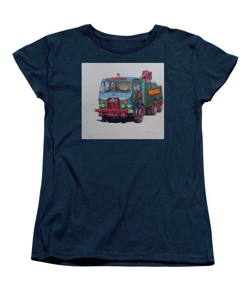 Women's T-Shirt (Standard Cut) featuring the painting Pannell Leyland Wrecker. by Mike Jeffries