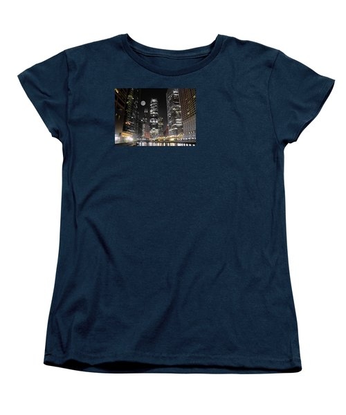 Panoramic Lakefront View In Chicago Women's T-Shirt (Standard Cut) by Frozen in Time Fine Art Photography