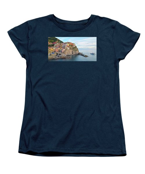 Women's T-Shirt (Standard Cut) featuring the photograph Panoramic Manarola Seascape by Frozen in Time Fine Art Photography