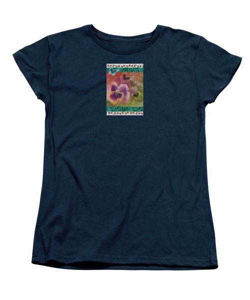 Women's T-Shirt (Standard Cut) featuring the painting Pansy Butterfly Asianesque Border by Judith Cheng