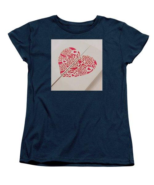 Paper Cut Heart Women's T-Shirt (Standard Cut) by Helen Northcott