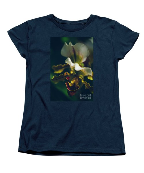 Women's T-Shirt (Standard Cut) featuring the photograph Paphiopedilum Villosum Orchid Lady Slipper by Sharon Mau