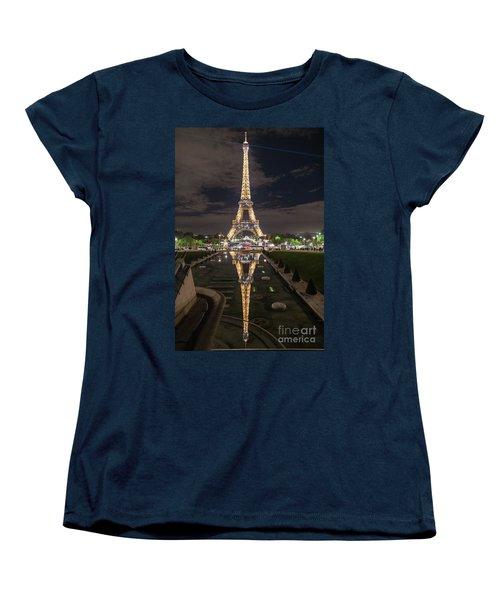 Paris Eiffel Tower Dazzling At Night Women's T-Shirt (Standard Cut) by Mike Reid