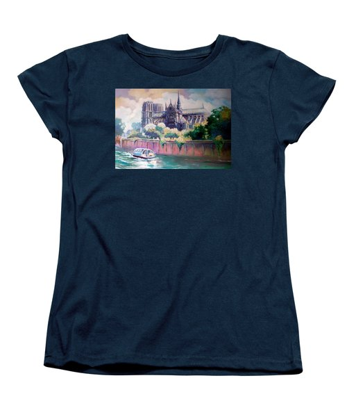 Women's T-Shirt (Standard Cut) featuring the painting Paris Notre Dame by Paul Weerasekera