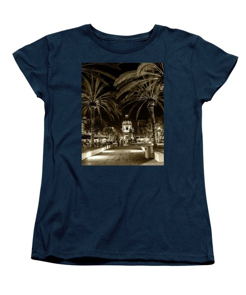 Women's T-Shirt (Standard Cut) featuring the photograph Pasadena City Hall After Dark In Sepia Tone by Randall Nyhof