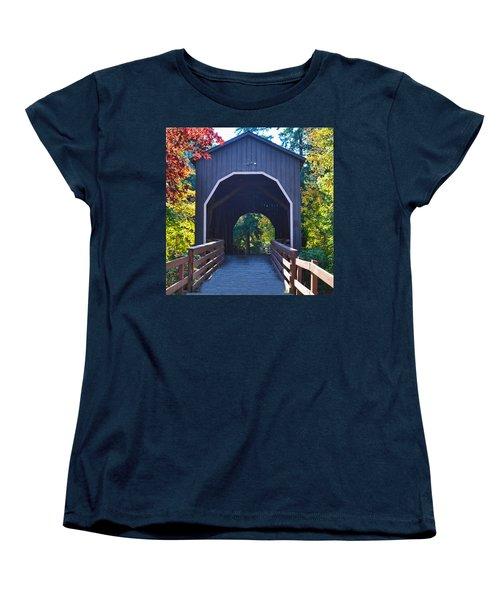Pass Creek Covered Bridge Women's T-Shirt (Standard Cut) by Ansel Price