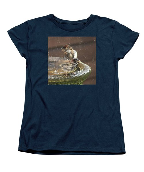 Pass The Towel Please: A House Sparrow Women's T-Shirt (Standard Cut) by John Edwards