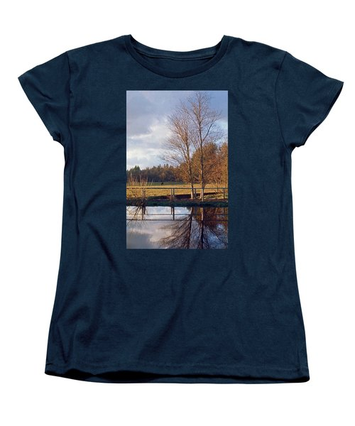 Women's T-Shirt (Standard Cut) featuring the photograph Pasture Pond by Laurie Stewart