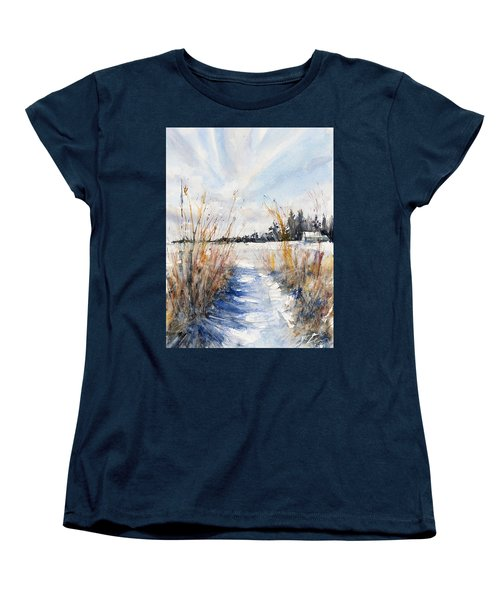 Path Shadows In The Way Back Women's T-Shirt (Standard Cut) by Judith Levins