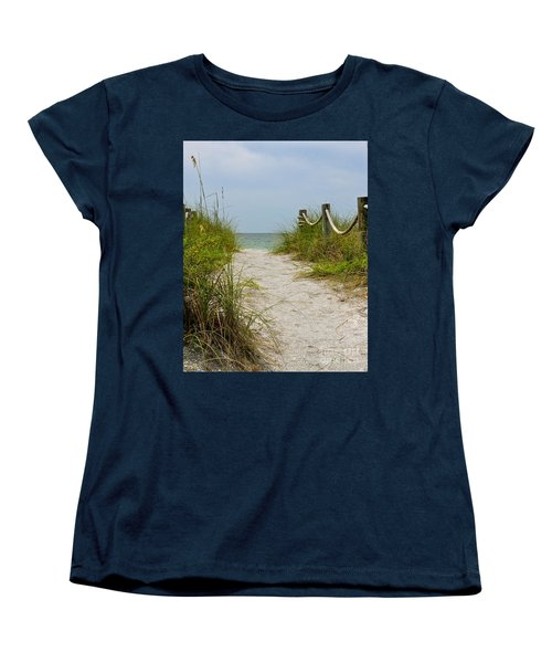 Women's T-Shirt (Standard Cut) featuring the photograph Pathway To The Beach by Carol  Bradley