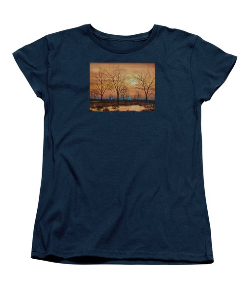 Patomac River Sunset Women's T-Shirt (Standard Cut) by AnnaJo Vahle