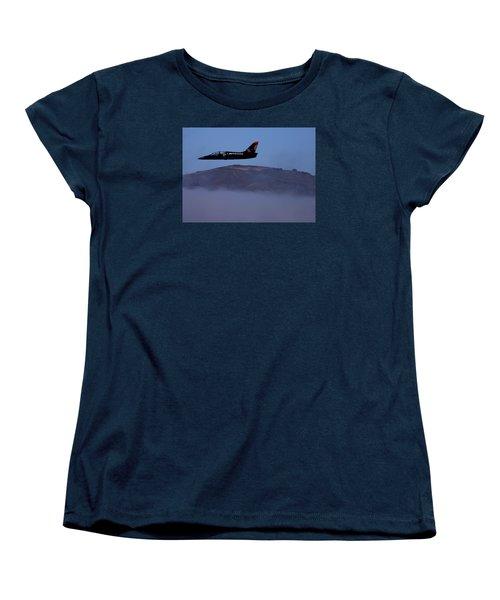 Patriot Jet Skims The Fog Over San Francisco Bay Women's T-Shirt (Standard Cut)