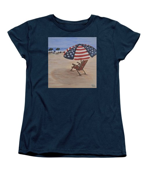 Women's T-Shirt (Standard Cut) featuring the painting Patriotic Umbrella by Debbie Baker