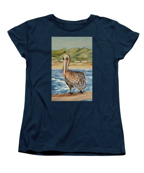 Women's T-Shirt (Standard Cut) featuring the painting Paula's Pelican by Katherine Young-Beck