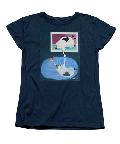 Women's T-Shirt (Standard Cut) featuring the painting Paws And Effect by Phyllis Kaltenbach