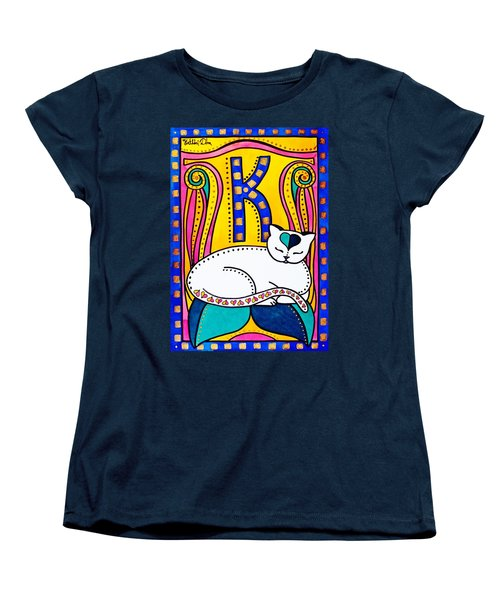 Peace And Love - Cat Art By Dora Hathazi Mendes Women's T-Shirt (Standard Cut) by Dora Hathazi Mendes