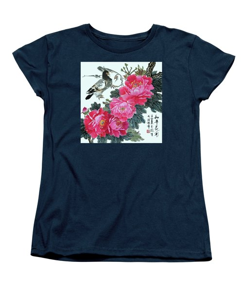 Peace Flowers Women's T-Shirt (Standard Cut) by Yufeng Wang