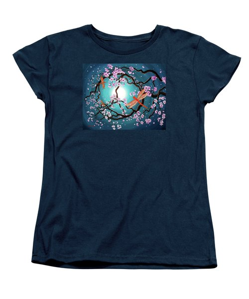 Peace Tree With Orange Dragonflies Women's T-Shirt (Standard Cut) by Laura Iverson