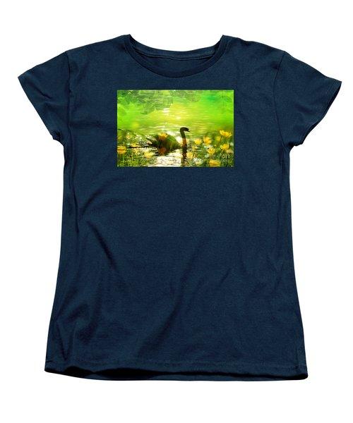 Peaceful Swan In Lake With Flowers Women's T-Shirt (Standard Cut)