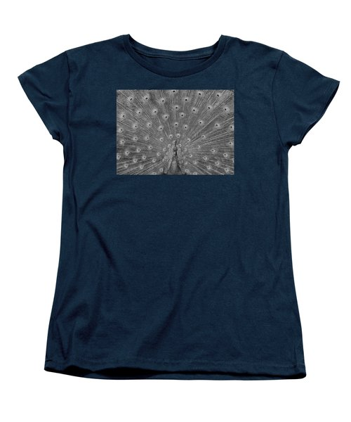 Women's T-Shirt (Standard Cut) featuring the photograph Peacock Fanfare - Black And White by Diane Alexander