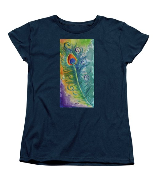 Peacock Feather Mural Women's T-Shirt (Standard Cut) by Agata Lindquist