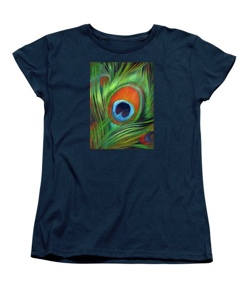 Women's T-Shirt (Standard Cut) featuring the painting Peacock Feather by Nancy Tilles