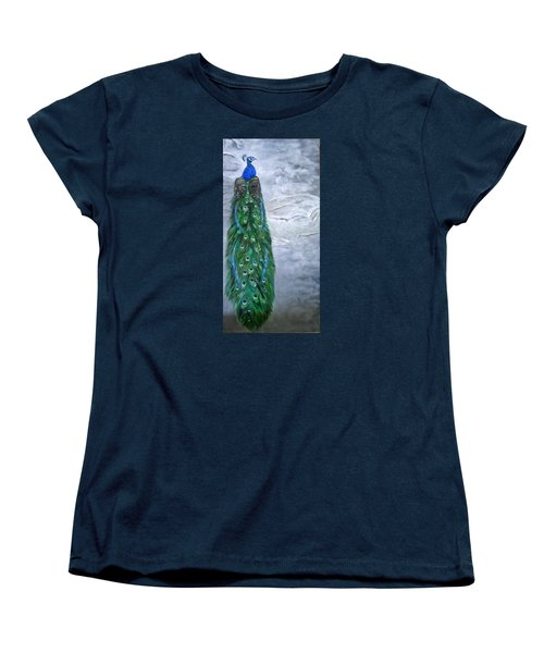 Peacock In Winter Women's T-Shirt (Standard Cut) by LaVonne Hand