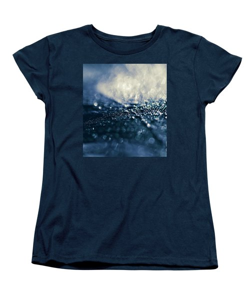 Women's T-Shirt (Standard Cut) featuring the photograph Peacock Macro Feather And Waterdrops by Sharon Mau