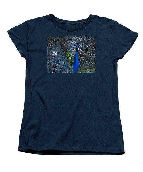 Women's T-Shirt (Standard Cut) featuring the photograph Peacock Splendor by Marie Hicks