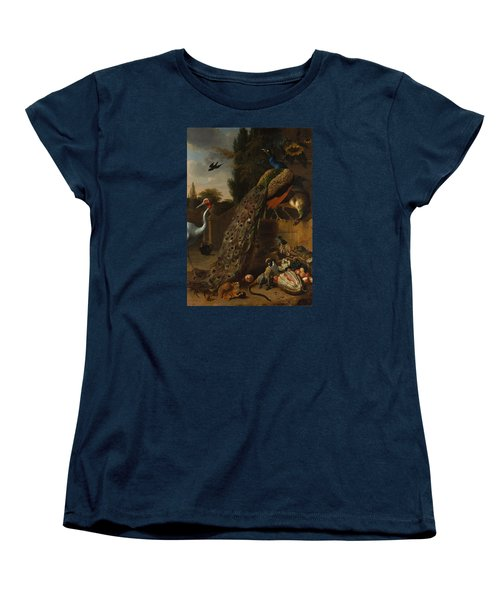 Women's T-Shirt (Standard Cut) featuring the painting Peacocks by Melchior d'Hondecoeter