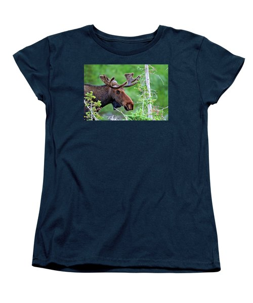 Women's T-Shirt (Standard Cut) featuring the photograph Peaking Moose by Scott Mahon