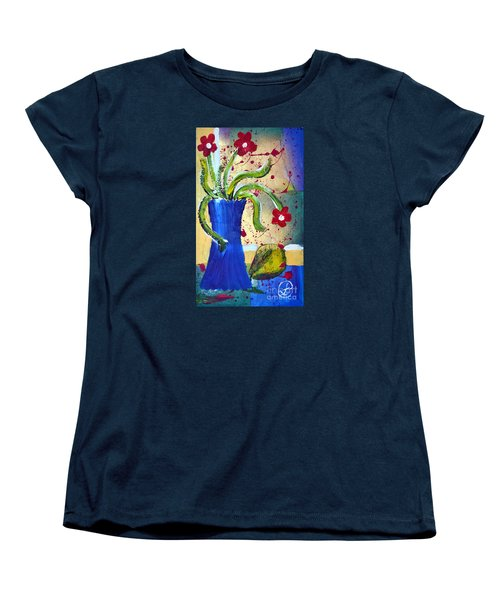 Pear And Red Flowers Women's T-Shirt (Standard Cut) by Lynda Cookson