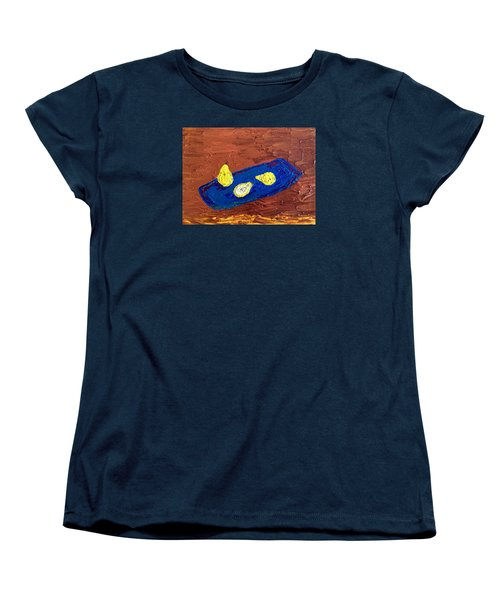 Women's T-Shirt (Standard Cut) featuring the painting Pears On A Blue Platter by Brenda Pressnall