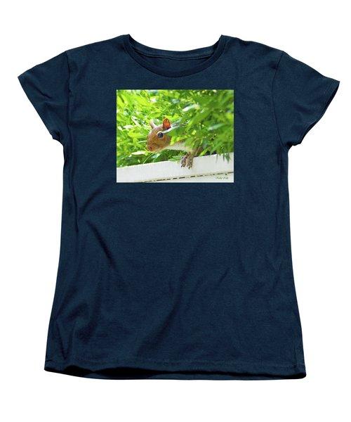 Peek-a-boo Gray Squirrel Women's T-Shirt (Standard Cut) by Kathy Kelly