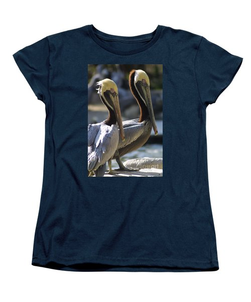 Women's T-Shirt (Standard Cut) featuring the photograph Pelican Duo by Dodie Ulery
