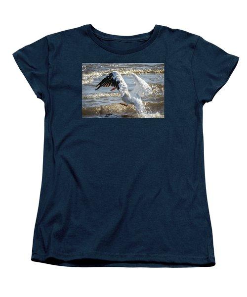 Pelican Jump Women's T-Shirt (Standard Cut) by Ray Congrove