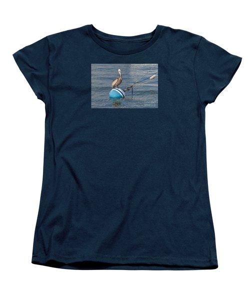 Pelican On A Buoy Women's T-Shirt (Standard Cut) by Loriannah Hespe