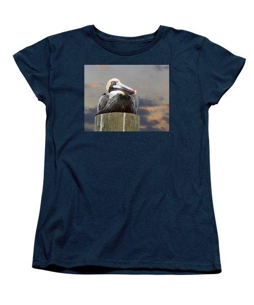 Pelican Perch Women's T-Shirt (Standard Cut) by Betty Denise