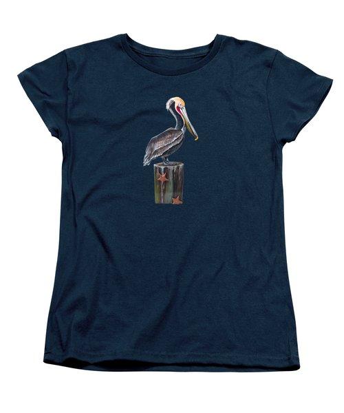 Pelican Standing On A Piling Women's T-Shirt (Standard Cut) by Jennifer Rogers