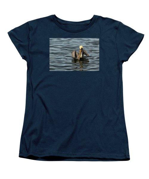 Women's T-Shirt (Standard Cut) featuring the photograph Pelican Wing In A  Twist by Jean Noren