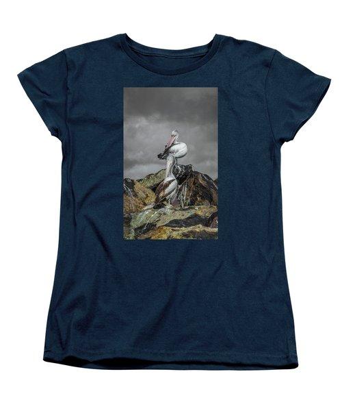 Pelicans On Rocks Women's T-Shirt (Standard Cut) by Racheal Christian